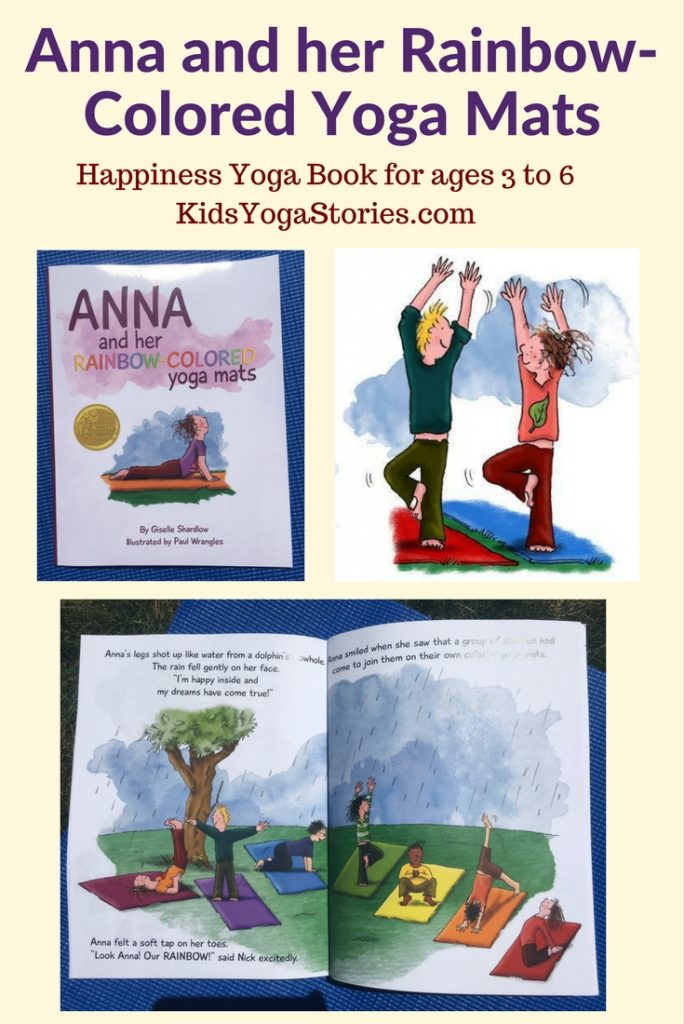 Happiness yoga book for ages 3 to 6, Anna and her Rainbow-Colored Yoga Mats | Kids Yoga Stories