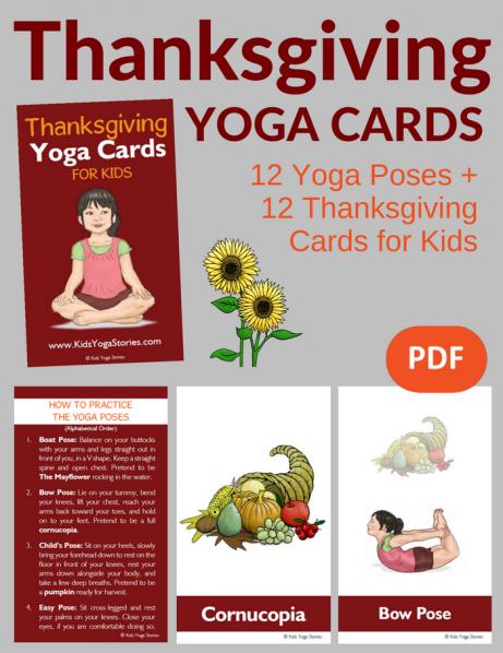 Thanksgiving Yoga Cards for Kids PDF Download Image