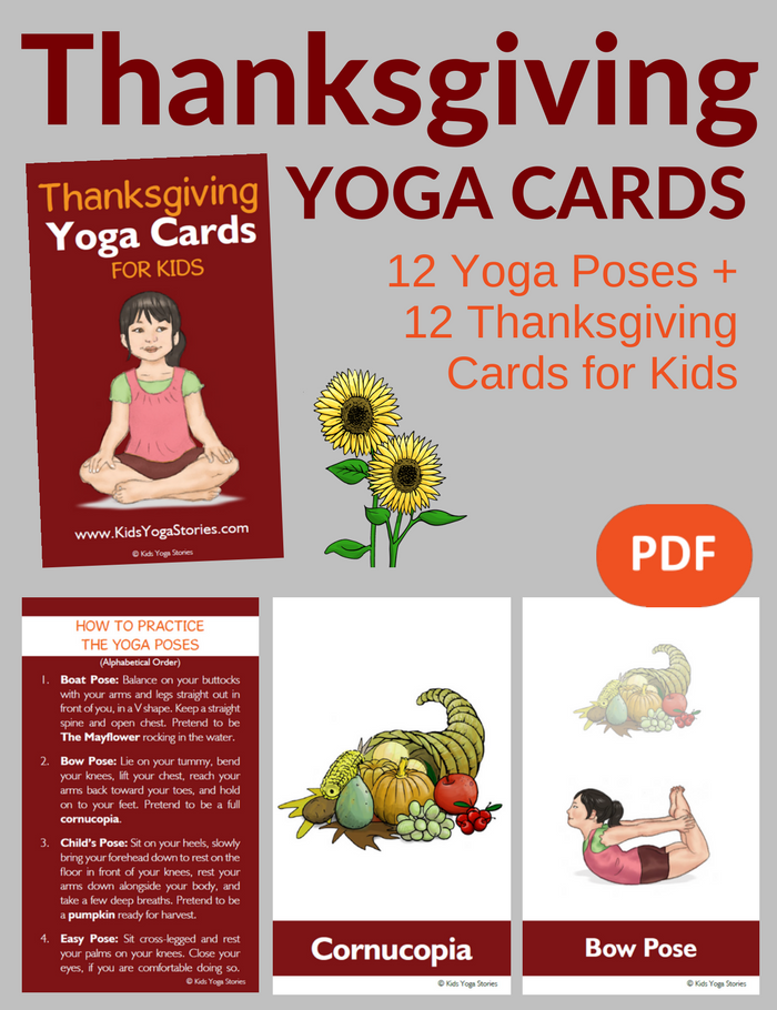 Thanksgiving Yoga Cards for Kids PDF Download Image