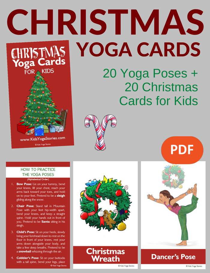Christmas Yoga Cards for Kids PDF Download Image