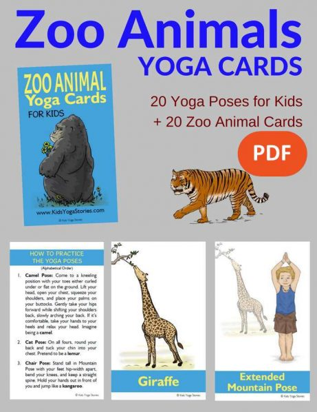 Zoo Animals Yoga Cards for Kids PDF Download Image