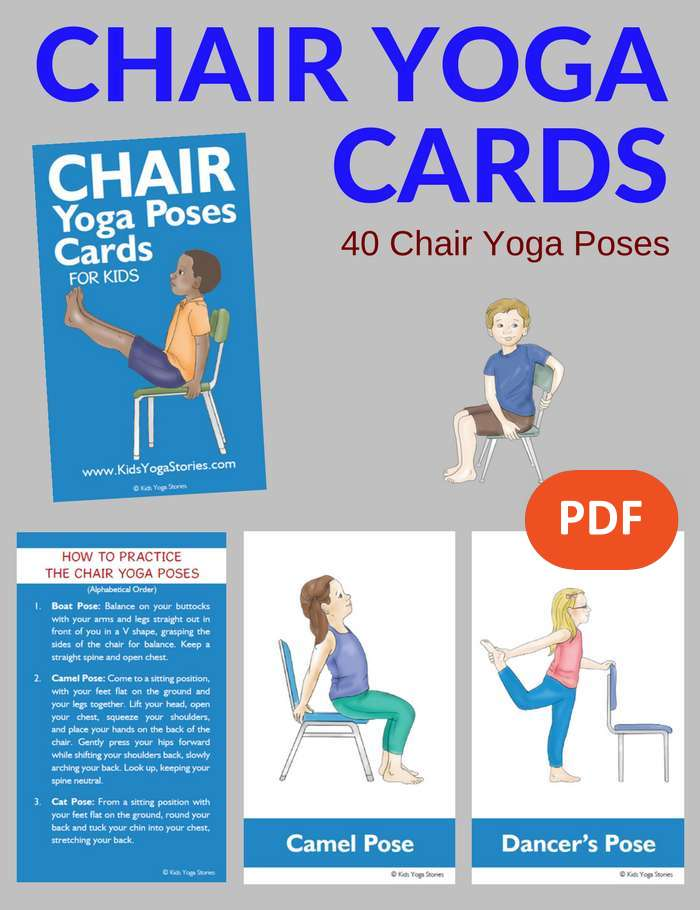 Chair Yoga Poses for Kids Cards PDF Download Image