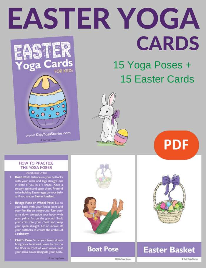 Easter Yoga Cards for Kids PDF Download Image