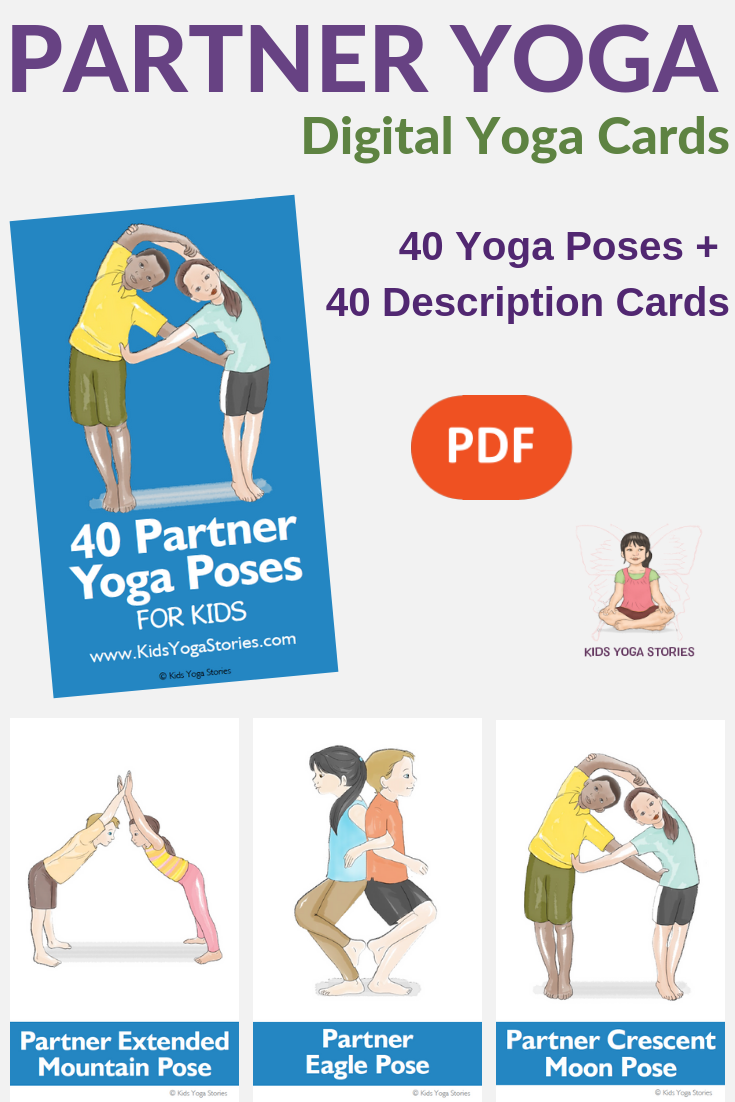 picture relating to Yoga Poses for Kids Printable titled 5 Uncomplicated Husband or wife Yoga Poses for Children (Printable Poster) - Children