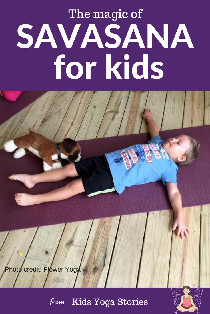 Savasana for kids. Resting yoga pose for calm | Kids Yoga Stories