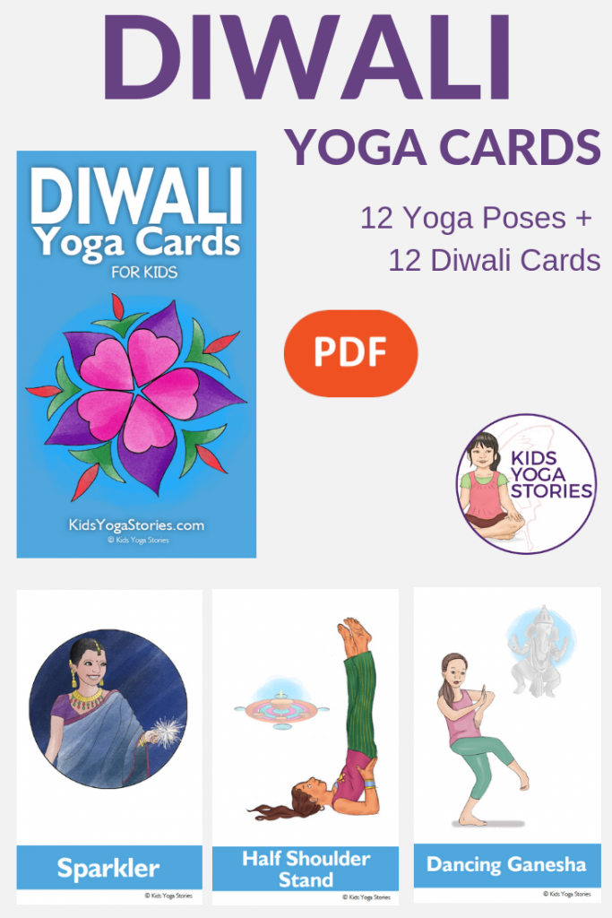 Diwali Yoga Cards for Kids, downloadable yoga cards for kids | Kids Yoga Stories