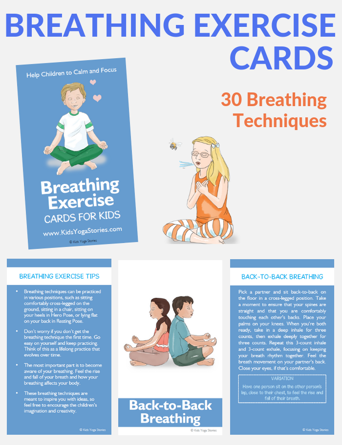 meditation cards for kids, breathing exercises, middle school kids meditation | Kids Yoga Stories