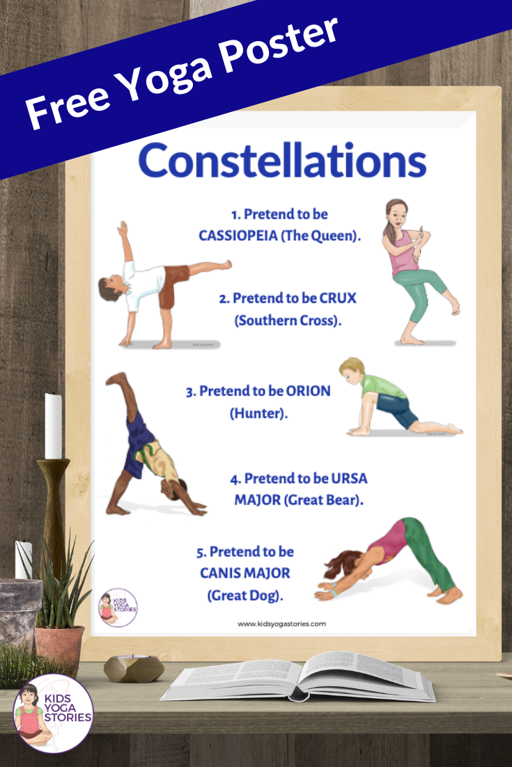 Free yoga poster, constellation yoga, space yoga, star yoga | Kids Yoga Stories