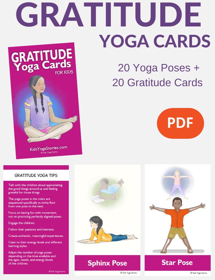 Gratitude Cards for Kids, grateful yoga poses for kids | Kids Yoga Stories