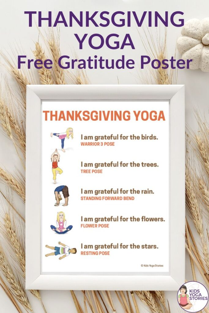 Free thanksgiving activities poster | Kids Yoga Stories