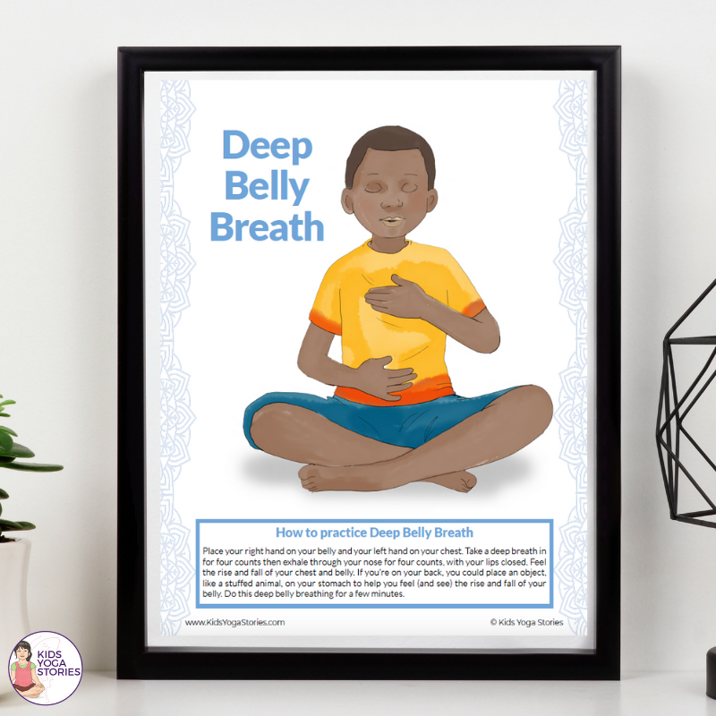 Deep Belly Breath Free Poster | Kids Yoga Stories